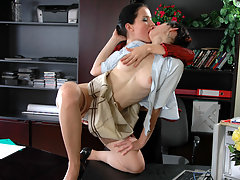 Freaky female co-workers giving pussies great workout right in the office