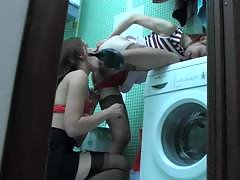 Stockinged lesbian chicks slipping into their panties and rubbing pussies