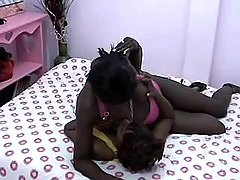 Sweet black lesbian makes passionate sex