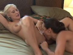 Lesbian greedily licks out pussy