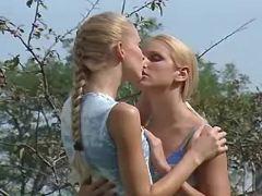 Teen lesbians relax in hot summer