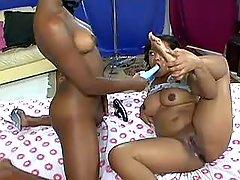 Ebony lesbian licks hot girlfriend