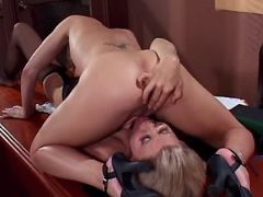 Teacher and chick lick each other