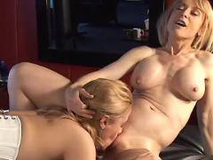 Mature lesbians licking each other