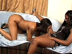 Wild and sweaty black lesbian sex