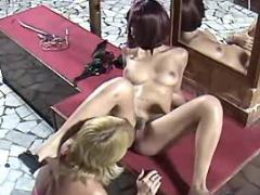 Blonde lesbian licks redhead slutty